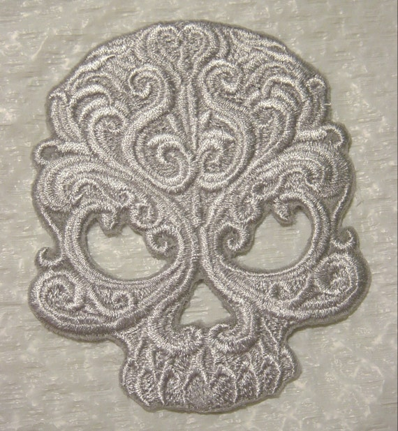 """BAROQUE GOTHIC SKULL - Silvery Gray- Iron on Patch - Applique -   5.25"""" X 4.5"""""""