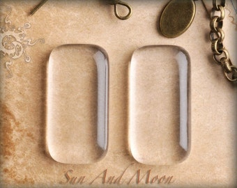 10 Clear Rectangle Glass Earring Or Pendant Tile ~ Ultra Clear ~ Rectangle Cabochon ~ Puffy Smooth Flat Back ~The SuN And MoON FX COLLECTION