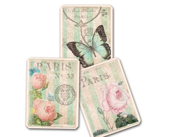 Gift Tag, Six Parisian Tags, Paris Themed Tags, Paris Flea Market Chic, Rose Gift Tag, Butterfly Gift Tag, Roses and Violets, Pink and Green