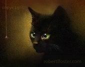 black cat art, kitten art, black kitten art, painting, cat art, kitty painting, pet print, cat print,, green eyes, meow, whiskers,