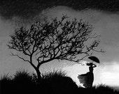 romantic art print, lady art, girl in the rain, woman in a stom, rain, in love, umbrella. raining, stormy skies, night tree, leafless tree