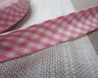 5m Pale Pink and White Gingham Print Bias Binding