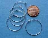 24 pcs Silver Plated Beading Wine  Hoops, 25mm HP750