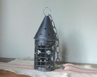 Vintage black tin lantern candleholder - hanging with door - gothic in style
