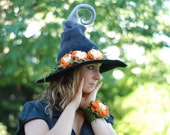 Witch wizard hat with flowers felted from wool black grey orange CUSTOM MADE choose your own colors