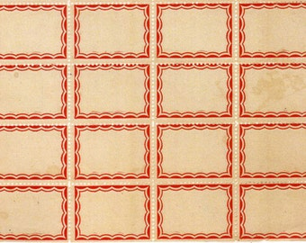 Favorite Vintage Style Red Scalloped Border Labels 16 Self Adhesive Sticker Labels