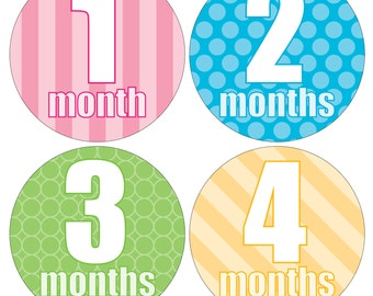 12 Monthly Baby Milestone Waterproof Glossy Stickers - Just Born - Newborn - Weekly stickers available - Design M018-04