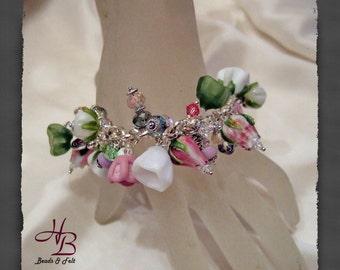Rose, Bracelet, Lampwork, Beads, Women, Gift,Accessoires, Czech glass, Copper Wire
