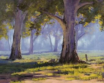 Australian GUM TREES PAINTING artwork Sheep landscape by G.Gercken