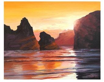 CALIFORNIA BEACH PAINTING Sunset  Oil American Fine Art iMPRESSIONIST  By Gercken