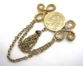 Vintage French Coin Tassel Brooch