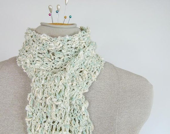 Lightweight Crocheted Scarf in Mint and Cream  - Item 1226