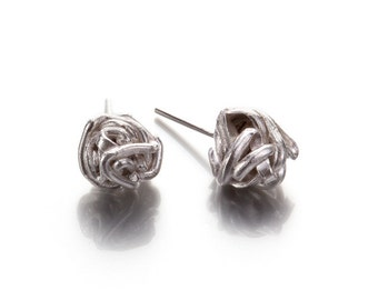 Knot Stud Earrings, Sterling Silver Wire Knot Stud Earrings, Wire Ball Post Earrings Silver Post Earrings,Silver Knot Studs
