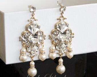 Gold Chandelier Wedding Bridal Earrings Pearl Crystal Rhinestone Gold Wedding Jewelry LILY