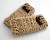 Crocheted Baby Leg Warmers. Tan. Leggings.