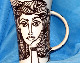 Ceramic  Coffee/Tea Mug Picasso Inspired Black  White Face on Etsy