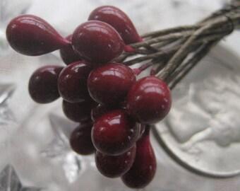 Stamen Millinery Flower Berry Stamen Czech Peps 18 Stems Deep Red  CZ 19