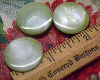 "3 Antique Pale Lime GREEN Dyed Mother of Pearl MOP Shell BUTTONS  7/8"" Disc"