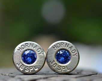 Bullet Earrings stud earrings or post earrings silver earrings Hornady .38 special earrings bullet jewelry with Swarovski crystals