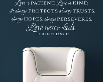 Love is patient, love is kind wall words scripture verse vinyl home decor lettering decal sticker