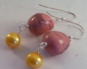 Tropics.. Pink howlite, freshwater pearl & sterling silver earrings