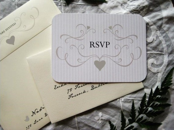 Romantic Love Birds Wedding Invitation (Dove Gray, Sepia with Ivory Envelopes, Gold/Silver Baker's Twine) - Heath Collection Deposit
