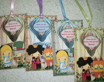 ALICE in WONDERLAND - HoT AiR BaLLooNs - Made to order - 12 Personalized Gift Tags - ALT 6590