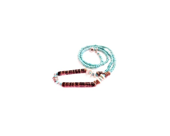Coconut Bead Necklace, Turquoise Blue Glass
