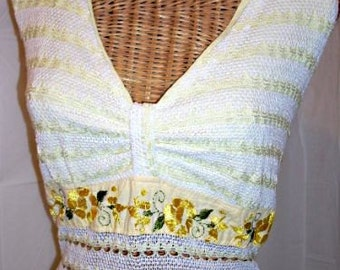 Vintage 70s Yellow Embroidered Mexican Style Hanky Hem  HALTER Dress, Peek a Boo Waist