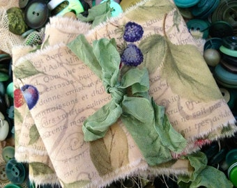 French Fruit - Hand Frayed - Distressed - French Ribbon - Strawberries - Blueberries - Cherries. - Lots of Muted French Writing