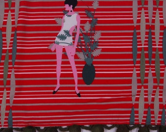 mod girl tea towel modern woman scandinavian swedish copenhagen