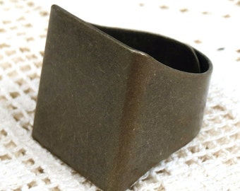 5 Wide Solid Adjustable Band RING Base Blanks Finding Settings Brass Steampunk Cabachon