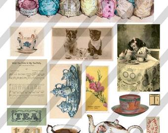 Digital Collage Sheet  Tea Time Images (Sheet no. O82) Instant Download