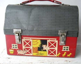 Vintage 1950's Tin Red Barn Lunch Box with Open Door Scenes, Red, Yellow, Black