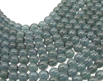 50 MONTANA 6mm Beads Czech Glass Beads - Montana Blue Beads Light Navy Grey Blue - 6mm Round Pressed Glass Druks