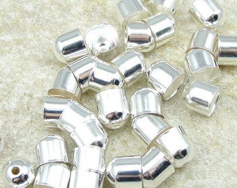 36 Silver Plated 8mm End Caps Kumihimo Cord Ends Open Ended Cord Caps Kumihimo Supplies (FS21)