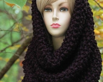 Black Knit Infinity Scarf Cowl Hood, Circle Scarf, Chunky Scarf, Oversized Cowl, Knit Scarf,  Original Chunky Knit Design in Moss Stitch