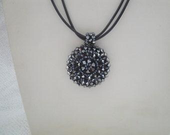 Black Smoke Swarovski Crystal Beadweaving Pendant