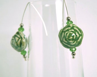 Green Rose Ceramic and Silver Earrings