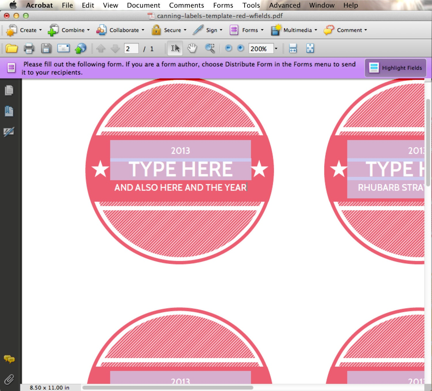 EDITABLE Custom Printable Canning Labels In Coral Red YOU