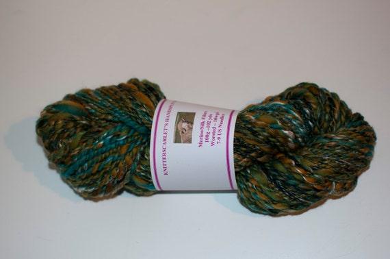 Green Merino/Silk Handspun Yarn 100g/102yds
