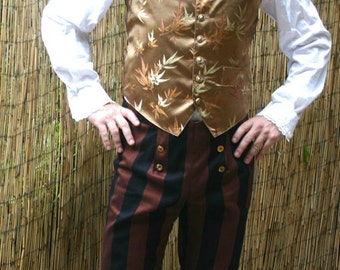 Brown and Black Wide Stripe 6 Button Flap Front Steampunk Tapestry Pants, Gold Bamboo Vest and Shirt Ensemble