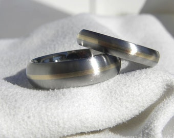Titanium Ring SET, Domed Profile, 1mm Yellow Gold Inlay Stripe Rings