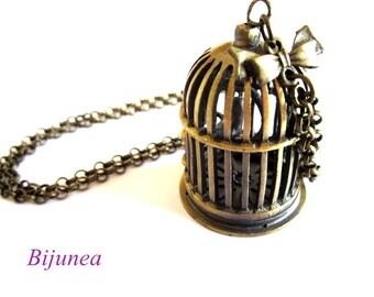 Bird cage necklace - Bird necklace - Bird cage necklace - Key necklace - Bird necklace n555