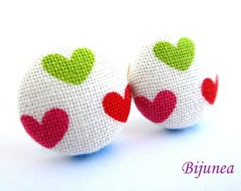 Heart earrings - Pink heart earrings - Heart stud earrings - Heart studs - Heart post earrings - Heart posts sf1035