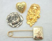 Vintage Scatter Pin Brooch Lot - Heart Locket Brass Cameo SIlver Rose Monogram