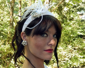 Something Blue-Custom lace covered headband-Vintage jewels-feathrs-CRBoggs Designs Original