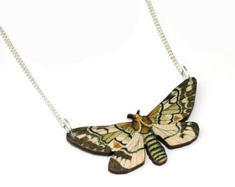 Moth Necklace, Wood Pendant, Illustration Jewelry, Butterfly Necklace, Woodland, Animal Necklace, Wood Jewelry