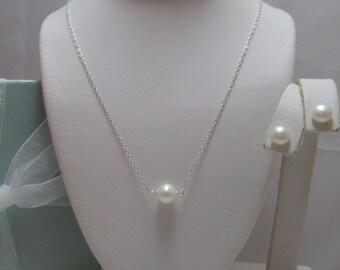 Genuine Pearl Petite Solitaire  Pendant  and Earrings Set Bridal