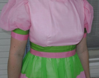 """Alice in wonderland"""" Perfect for EASTER Rare Sweet Shear Pastel Gown With Puffy Sleeves"""
